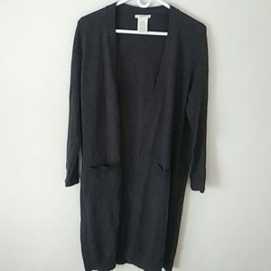 Woman's long open sweater, m, grey new w/o tag